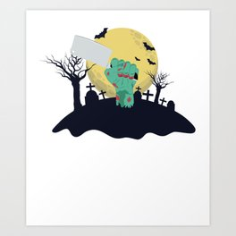 Zombie Hand With Butchers Knife Funny Halloween Costume product Art Print