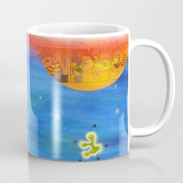 Space Rocket Planet Aliens and Shooting Stars Coffee Mug