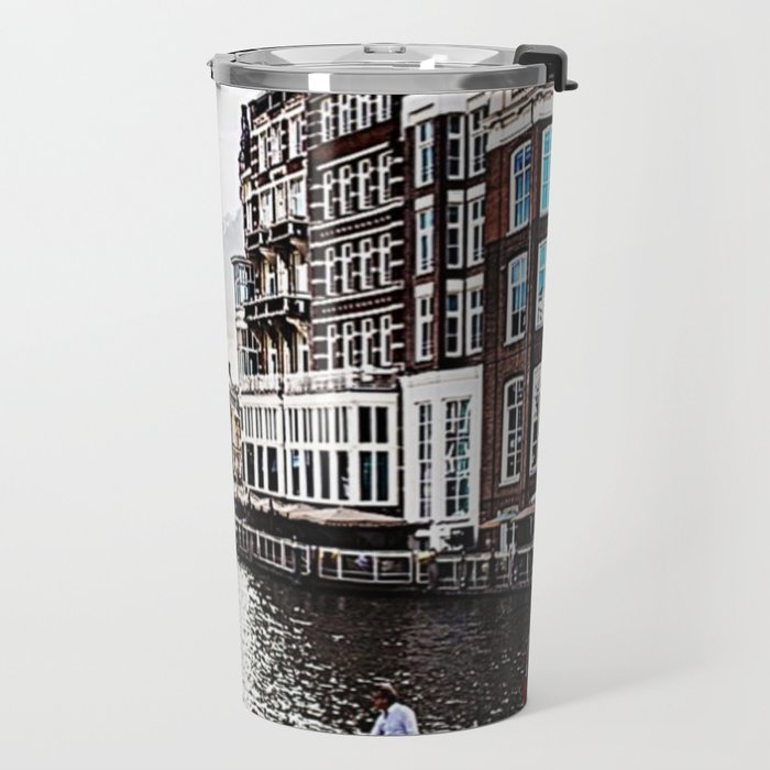 Amsterdam Canals and Fair Weather Clouds Travel Mug