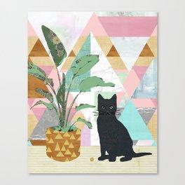 Black Cat Collage Canvas Print