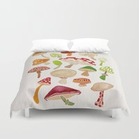 mushrooms Duvet Covers featuring Mushrooms by Cat Coquillette