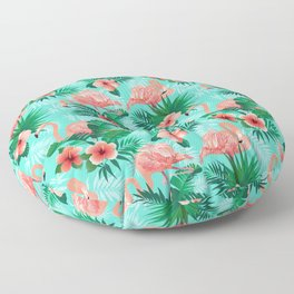 Preppy Pink Flamingos Tropical Flowers Palm Beach Style Floor Pillow