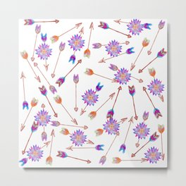 Boho Watercolor Hand Painted Flower and Arrows Metal Print