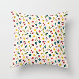 Happy fruits pattern Throw Pillow