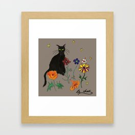 Black cat Le Chat Framed Art Print