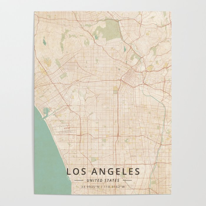 Los Angeles United States Vintage Map Poster By Designermapart - Us-map-poster