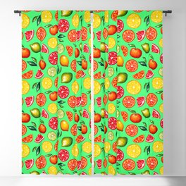 Citrus pattern on green background Blackout Curtain