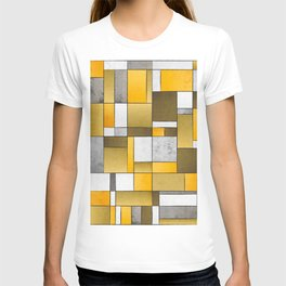 Abstract Art Print - Gold, Yellow, Brown, Grey Color Composition T-shirt