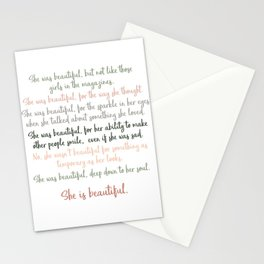 She Was Beautiful By F. Scott Fitzgerald 3 #minimalism #poem Stationery Cards