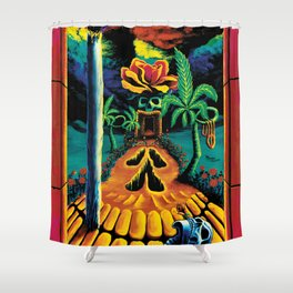 Psychedelic Surreal Trippy Art  by Vincent Monaco - Skull Garden Illusions Shower Curtain