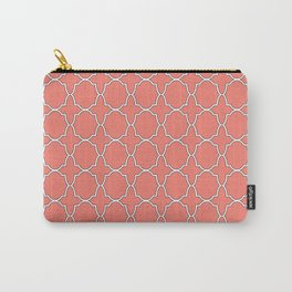 Salmon Pink Quatrefoil Pattern Carry-All Pouch