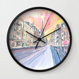 Edinburgh Scotland Street Scene with Church Wall Clock