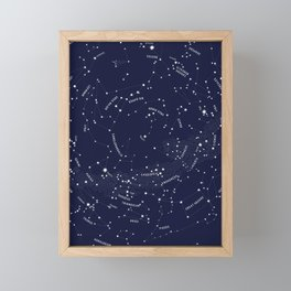 Constellation Map - Indigo Framed Mini Art Print