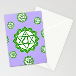 "This design is all about the ASTRAL PURPLE GREEN SANSKRIT CHAKRAS PSYCHIC WHEEL "" LOVE"" decor, furni Stationery Cards"