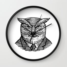 Hipster Owl Suit Woodcut Wall Clock