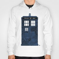 tardis Hoodies featuring Tardis by Rebecca Bear