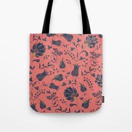 Paradise Florals - Coral & Blue Tote Bag