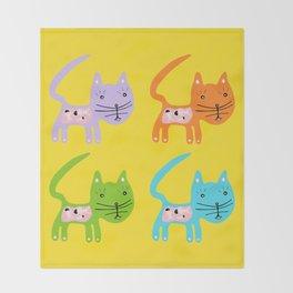 Colour Cat Throw Blanket