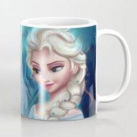 frozen elsa Mugs featuring Elsa Frozen by This Is Niniel Illustrator