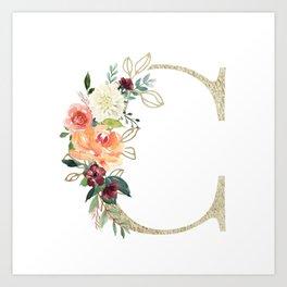 C Monogram, gold foil and watercolor flowers Art Print