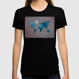 world map 104 blue #worldmap #map T-shirt