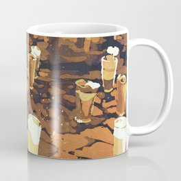 Candles in graveyard during Day of the Dead in Patzcuaro, Mexico.  Watercolor Coffee Mug