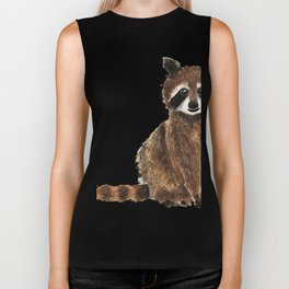 baby raccoon watercolor Biker Tank