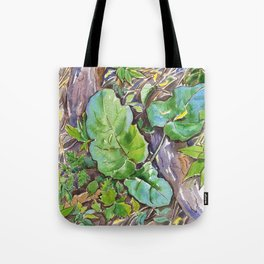 ground beneath my feet in summer: roots, grass, leaves Tote Bag
