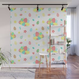 Colorful Easter Egg and Easter Flower Pattern Wall Mural
