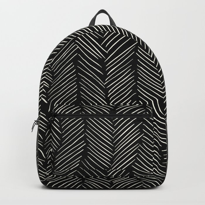 Herringbone Cream on Black Backpack