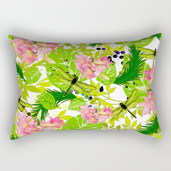 PALM AND LILY PINK AND GREEN Rectangular Pillow