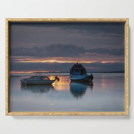 Fishing boats in Penclawdd Serving Tray