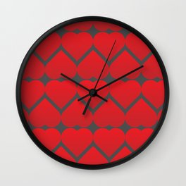 valentine repeating hearts pattern Wall Clock