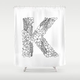 Floral Type - Letter K Shower Curtain