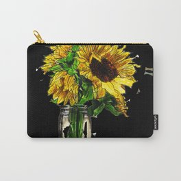 Sunflower In Mason Jar Carry-All Pouch