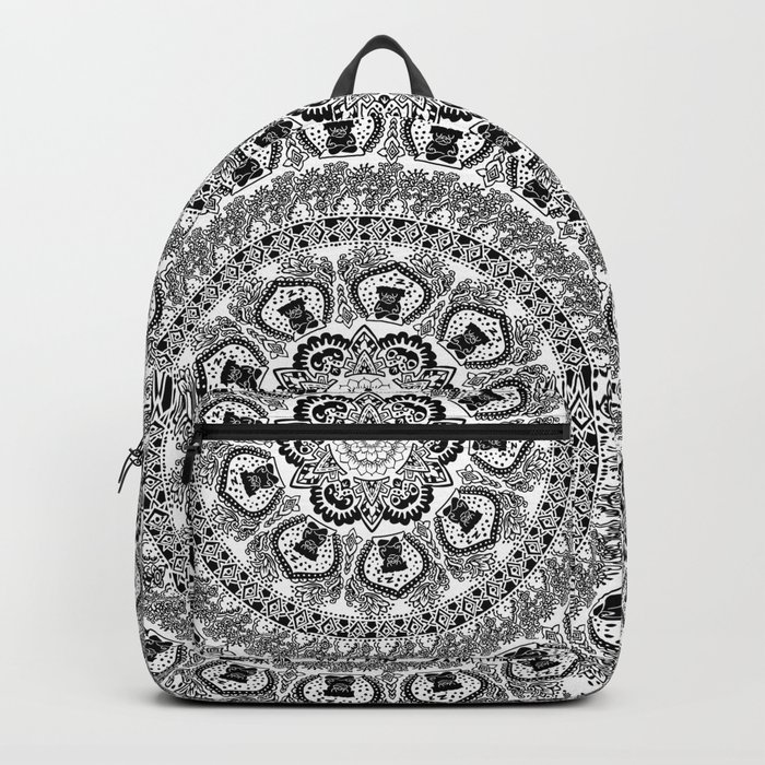 Black Pug Yoga Medallion Backpack