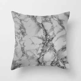 Gray and Black Marble Throw Pillow