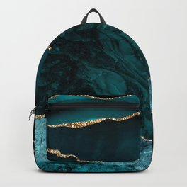 Teal Blue Emerald Marble Landscapes Backpack