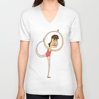 dancer V-neck T-shirts featuring Dancer by Mimi