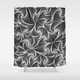Fractal Sketch Dark Shower Curtain