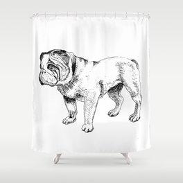 Bulldog Ink Drawing Shower Curtain