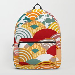 Nature background with japanese sakura flower, orange red pink Cherry, wave circle pattern Backpack