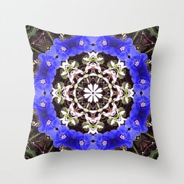 Blue and white floral mandala - Evolvulus and Diamond frost flowers 1 Throw Pillow