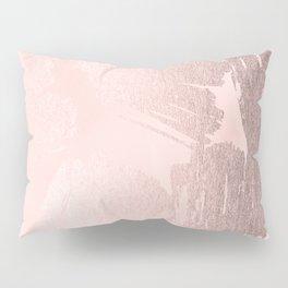 Rose Gold Pastel Pink Paint Brush Pillow Sham