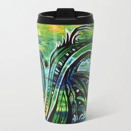 green and blue Travel Mug