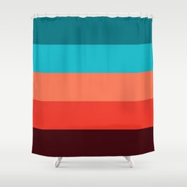 Exotic bright colorful Bohemian Chic teal burgundy Turquoise Orange Stripes Shower Curtain