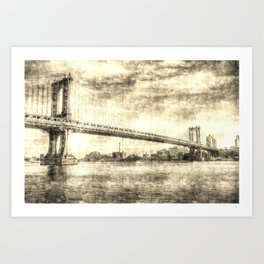 Manhattan Bridge New York Vintage Art Print