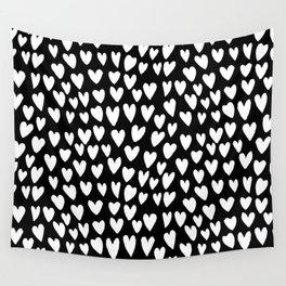 Linocut printmaking hearts pattern minimalist black and white heart gifts Wall Tapestry