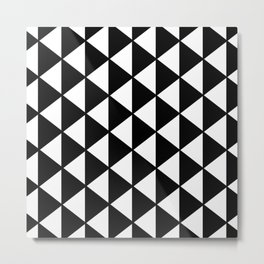 Black And White Triangles Pattern Metal Print