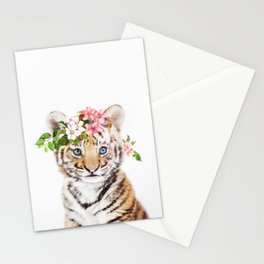 Tiger Cub with Flower Crown Stationery Cards